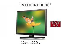 Télévision TV HD LED 16 pouces pour camping car , caravane , fourgon 12V / 220 V