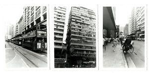 Vintage set of 3 Photo 's HONG KONG Street Scenes Tram  CHINA Hongkong Kowloon ?