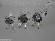 VINTAGE WARDGLASS HAND MADE GLASS SCULPTURED ANIMALS - ELEPHANT TRIO - PERFECT