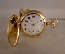 "ANTIQUE HAMPDEN ""MOLLY STARK""14k GOLD FILLED HUNTER CASE FANCY DIAL POCKET WATCH"