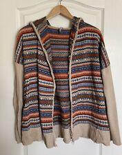 Hanna Andersson Hooded Cardigan Sweater Tribal Geometric Print Sz M Cotton