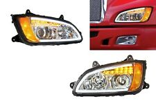 Pair Chrome Projection Headlights for Kenworth T660 W/ LED Turn Signals