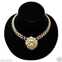 Halskette Statement Löwenkopf Löwe Kette Collier Gliederkette Panzer Chunky Gold