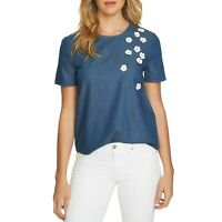 NWT Womens Nordstrom Cece Cynthia Steffe Floral Applique Chambray Blouse Top