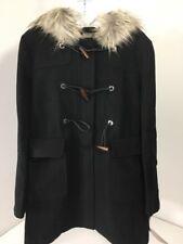 ASOS WOMEN'S FAUX FUR HOODED DUFFLE COAT BLACK NWT UK:14/US:10 NWT $103