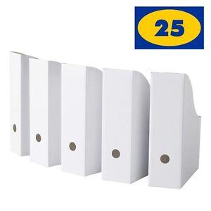 IKEA Flyt White Magazine File Holders, Pack of 25 - Corrugated Paper Organizer