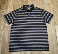 Under Armour Heat Gear Golf Polo Loose Fit Shirt Black Gray Stripes 2Xl Xxl