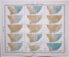 1899 LARGE WEATHER METEOROLOGY MAP ISOBARS & ISOHYETS SOUTH AFRICA ANNUAL