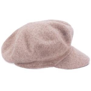 Feste Frauen 100% Wolle Newsboy Cabbie Cap Häkeln Slouchy Baggy Visier Hut T414