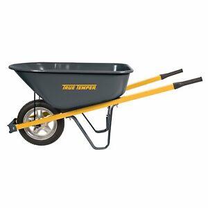 Wheelbarrow Steel Handle with Flat Free Tire Yard Rover Push Cart Utility Wagon