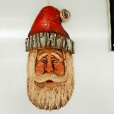 "Torbert Original Chainsaw Carving Wooden Santa Claus Head 21""Tall X 10+ "" Wide"