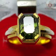 6.75 Ct Superb Quality AAA Natural Green Sapphire Sterling Silver Ring Size 7-13