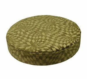 wg04r Olive Lime Geometric Check 3D Round Box Shape Sofa Seat Cushion COVER*Size