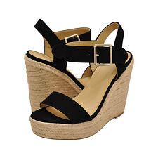 Women's Shoes Delicious BURST Platform Wedge Espadrille Sandals BLACK NBPU