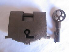 An old or antique iron lock padlock trick puzzle barbed spring turning key