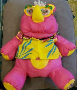 Vintage Fisher Price Puffalump Wild Pink Rhino Hawaiian Shirt & Sunglasses 1987