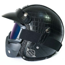 Durable M Harley Motorcycle Bike Leather Helmet w/ Face Mask Crocodile Black 1pc