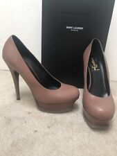 YSL Yves Saint Laurent Tribute Platform Pumps Heels Shoes Brown Leather Sz 37.5