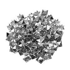 100 Pcs Leathercraft DIY Metal Punk Spikes Spots Pyramid Studs Goth-Silver N3