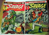 Doc Savage #3 & #4, 1972 Marvel, Jim Steranko Cover, Good Condition