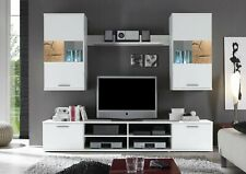 Modern living room set, wall unit in white colour with oak inserts Spalt 2