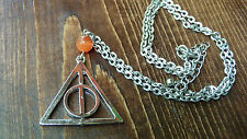 DEATHLY HALLOWS Rotating Spinning Necklace Silver Tone Pendant.Harry Potter prop