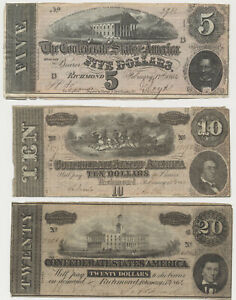 USA CONFEDERATE STATES AMERIKA 5 Dollar  10 Dollar  20 Dollar 1864 Banknote  $