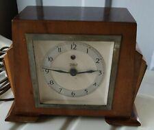 Vintage ART DECO Temco Electric Wooden Clock, 1930's Working READ