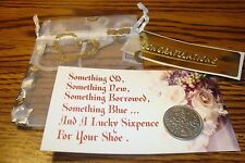 1956 BRITISH LUCKY WEDDING SIXPENCE Keepsake Coin, Organza Pouch + Floral Card