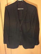 Vintage 1950's Blue Wool Herringbone Sports Coat   Size 44 R