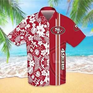 San Francisco 49ers Men's Hawaiian Shirts Summer Beach Blouse Casual Button Down