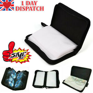 UK 80 Space CD DVD Blu Ray Disc Carry Case Holder Bag Wallet Protector Storage