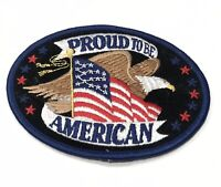 PROUD TO BE AN AMERICAN US FLAG USA EAGLE BIKER PATCH WITH STARS PATRIOTIC New
