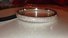 $350 Nadri 18K White Gold Plated Pave Swarovski Crystal Bangle Bracelet