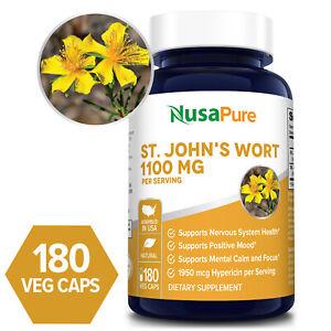 NusaPure St. John's Wort 1100mg - 180 Veg Caps ( Non-GMO & Gluten-free)