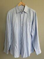 ARMANI COLLEZIONI Men's Size 41/16/L Large Blue Button Down Long Sleeve Shirt