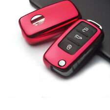 Red Tpu Remote Key Shell Cover Fob Case For Vw Volkswagen Gti Golf Jetta Pat