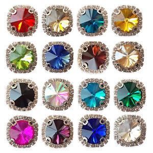 Large ROUND Glass Crystal Diamante Rhinestone Embellishment Sew On Gem Jewels