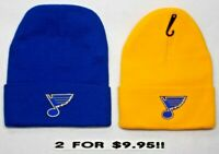 READ LISTING! St.Louis Blues HEAT APPLIED Flat Logos on 2 Beanie Knit Cap hat