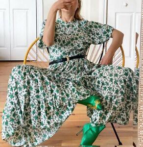 ZARA OYSTER WHITE FLOWING RUFFLED MAXI VOLUMINOUS CANDY GREEN FLORAL PRINT DRESS
