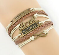 NEW Hot Infinity Love Anchor Belive Leather Cute Charm Bracelet Bronze DIY