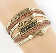 DIY Infinity Love Dream Belive Anchor Leather  Charm Bracelet Bronze