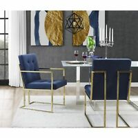 Square Back Arm Upholstered Dining Chair Set of 2 PU Leather or Velvet Fabric