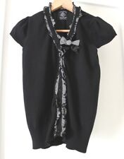 * FRIENDS OF COUTURE * Sz 14 black short sl KNIT ruffle cardigan!