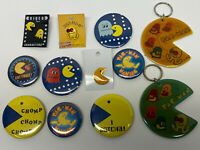 Vintage 80s  Lot Of Pac Man Pins Buttons Keychains