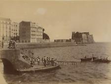 Napoli, Via Partenope con Pescatori che Tirano le Reti Vintage albumen print T