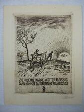 """Kleine Radierung """"Satire"""" Künstler: unleserlich signiert 1933"""