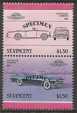 ST VINCENT 1986 CARS USA 1953 PACKARD CARIBBEAN SPECIMEN Overprint PAIR MNH