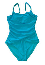 Assets by Spanx, Turquoise One Piece Swimsuit, Built in Bra, size 16