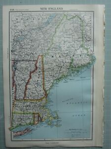 1952 MAP ~ NEW ENGLAND NEW HAMPSHIRE VERMONT CONNECTICUT RHODE ISLAND